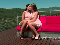 Brunette Lesbians Kari and Ennie Make Out in the Forest