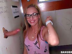nerdy young slut has fun at glory hole