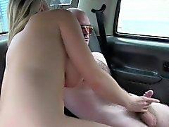 Huge tits female cab driver fucks customer