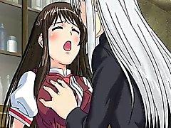 Симпатичный хентай школьница трахнут позади