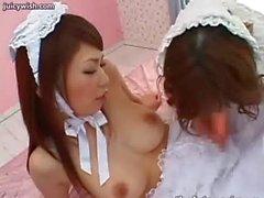 Asian futanari babes sucking and pleasuring