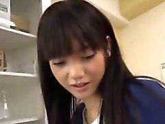 Rei Mizuna rubs cock with feet in nylon