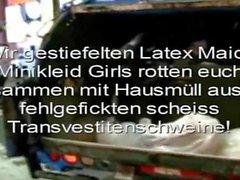 Latex Maid Luder Scheiss Transvestitenschweine im Müllpresswagen totpressen