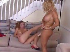 Big Tit Milf Fucks Lesbian Teen On Couch
