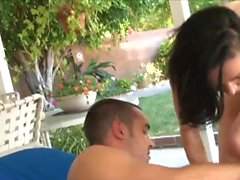 Slim babe has fun with a dick