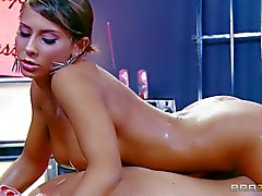 Oiled up busty babe Madison Ivy gives massage in her bare skin