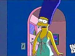 Sexo Simpsons dos desenhos animados : Homer Marge porra