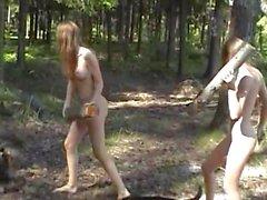 Masha and Sascha Young girls enjoying nature