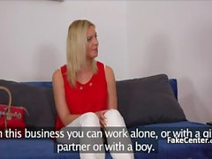 Czech blonde amateur fucked at casting couch