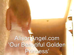 Glam clothed busty blonde teen babe fingers herself