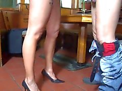 Hot Mature Waitress Serves A Customer