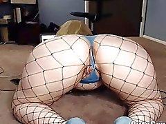 Masturbación en caramelo de las Curvy rechoncha de Blondie