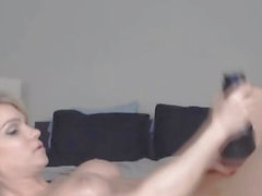 Blonde Shemale Jerks Off Her Big Dick