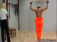 Blond in orange rug muncher slapping