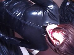Latex tranny slut pegged by hot rubber nurse!