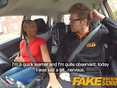 Fake Driving School ebony learner with big tits is worst driver yet