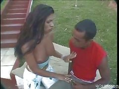 Latina Tgirl and stud bonking outdoors