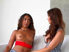 MILF lesbo queening her latina stepdaughter