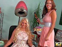 Seductive latina Daisy Marie and flirty Molly Cavalli