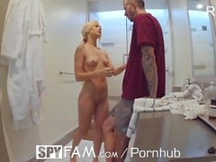 SpyFam Step sister Elsa Jean blackmail fuck with mouthful