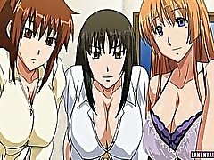 Three huge titted hentai babes gets fucked by guy