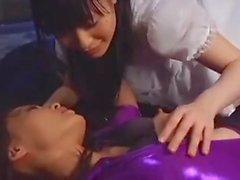 lesbian azn with purple purple vinyl suit 13-5