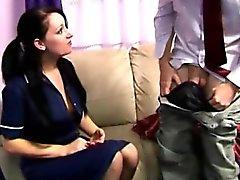 Young CFNM maid enjoying older mans dick