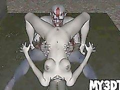 Two eccitati cartoon zombie 3D hanno qualche caldo sesso