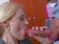 MOM Blonde big tits Milf sucks massive geek cock