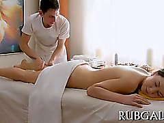 Teen nymph is very favourable to receive two massive peckers