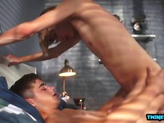 Big dick twinks flip flop with ass creampie