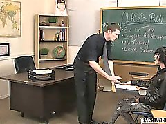 A teacher puts his twink student up on his desk and blows