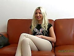 Blonde amateur fucked on a couch in office