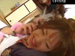 Japonaise, école, filles, chatouiller