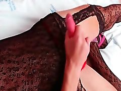 TS Bruna jerks to an explosive orgasm