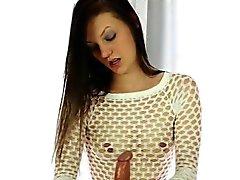 Skinny brunette masseuse blowjobs clients meaty hard cock