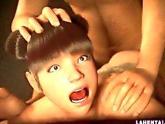 Asiatici ragazza 3D di ottiene scopata profondità da dietro