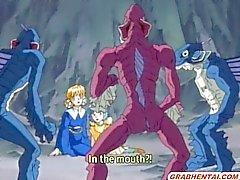 Schattige hentai drietal monsters groupfucked