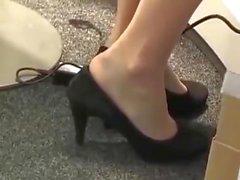 allmänhetens värdinna Shoeplay nylon Fötter