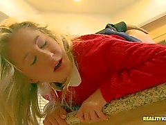 Young blonde Casi James gets humped in the kitchen