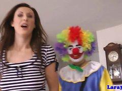 British milf doggystyled by clown on floor