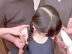 Японское буккаке подростковой играл помощью многим Pervs