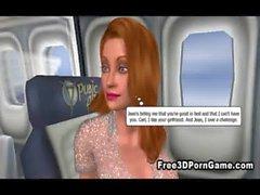 Сексуальное 3D Виксен соблазняет рогового шпильку на самолете