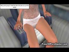 Atractivo de Vixen en 3D seducir un poste caliente en un avión