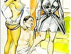 Vintage kwaad seksuele femdom comic
