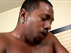 Big booty chocolate girl has a black pole bringing her pussy to orgasm