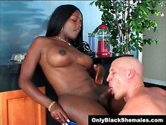 Stunning black Tgirl Destiny gets sucked