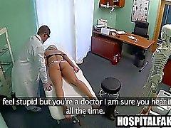 Blonde strips down to her undies and gets massaged