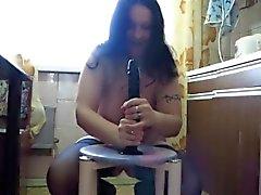 Chubby mom Katja riding big dildo