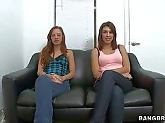 Two shy girls Jean Taylor and Natalie Nunez